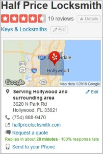Yelp Rating - Half Price Locksmith